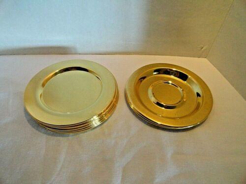 """Vintage Oneida  Ltd Tudor 6"""" Round Plates Gold Plated"""
