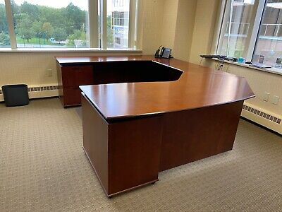 Executive Set U-shape Desk Bookcase File Cabinet By Ofs Office Furniture