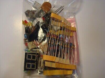 Mixed Lot Grab Bag Electronic Components Caps Resistors Semiconductors Ic Leds