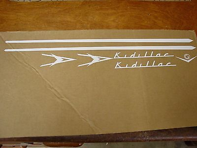 NEW KIDILLAC PEDAL CAR WHITE COMPLETE GRAPHIC SET  SUPER PRICING