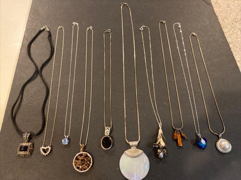 Lot of 10 Vintage Sterling Silver  Necklaces Pendants