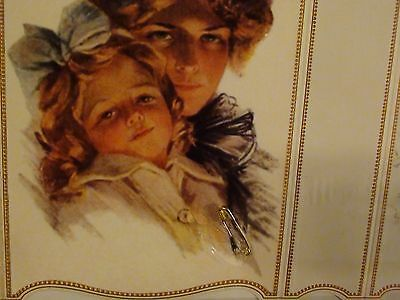 """VICTORIAN """"Lucky Safety Pin"""" Greeting Card-Mother Daughter-Scrapbook-Memory-gift"""