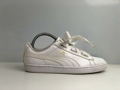 Puma Basket Heart Women's White Patent Leather Trainers UK Size 5