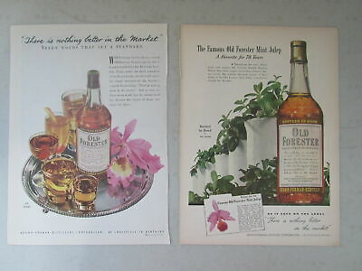 Lot of 2 Vintage Old Forester Distillers Ads ~ 1948 ad From Newsweek Magazine