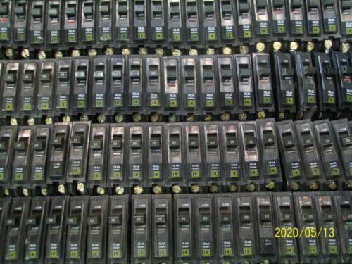LOT OF 10 Square D QOB QOB120, 20-Amp 1-Pole 20A 1P 10kA Bolt-on Circuit Breaker