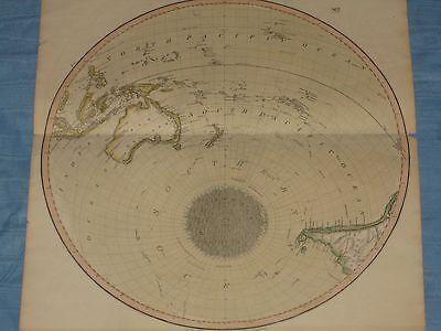 1816 LARGE SOUTHERN HEMISPHERE MAP PRINT AUSTRALIA OCEANIA THOMSON'S ATLAS NO.7