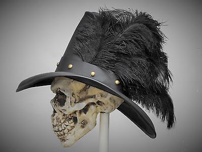 Conquistador noir leather hat pirate feather costume cosplay reenactment