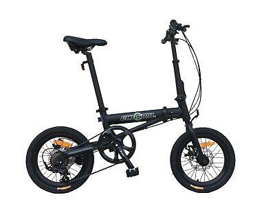 """Ecosmo 16"""" Rueda Ligero Aleación Plegable Bicicleta 7 Sp , Disco Doble -16AF01BL"""