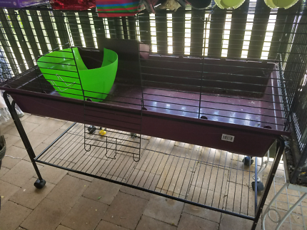 Pet cage rabbit guinea pig with stand on wheels