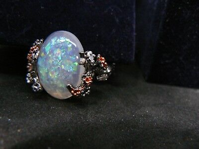 SILVER METAL RING OPAL DOUBLET AND AMAZING RING DESIGN   BB 1   MARKDOWN