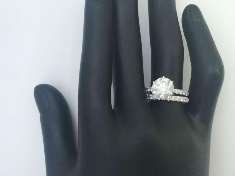 Diamond Ring Band Set 6 Prong Certified 18 Kt White Gold Estate 2.05 Ct Round