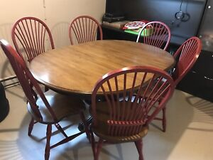 Dinning set table six chairs solid wood