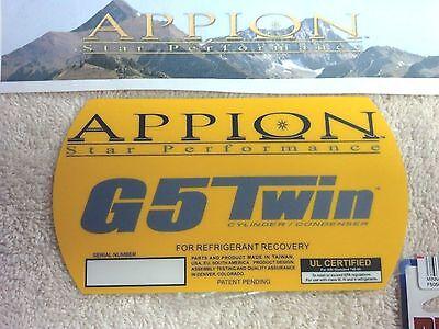 Appion G5 Refrigerant Recovery Unit Side Panel Logo Sticker Part Lb1205