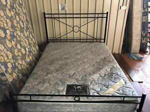 Queen metal bed and mattress delivery available