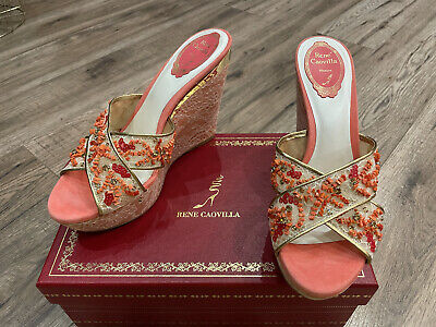 Rene Caovilla Coral Suede Women's Wedge Shoes. Size 39 (US 8). Made In Italy