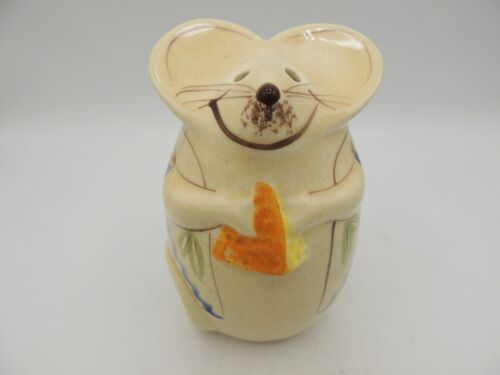 Los Angeles Potteries Mouse w/ Cheese Shaker Hand Painted Vintage 70