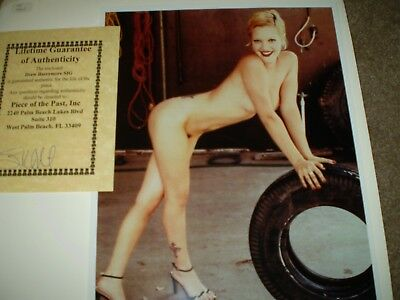 Drew Barrymore  Signed Nude Photo    8X10 Vintage Index Card 1990S With Coa