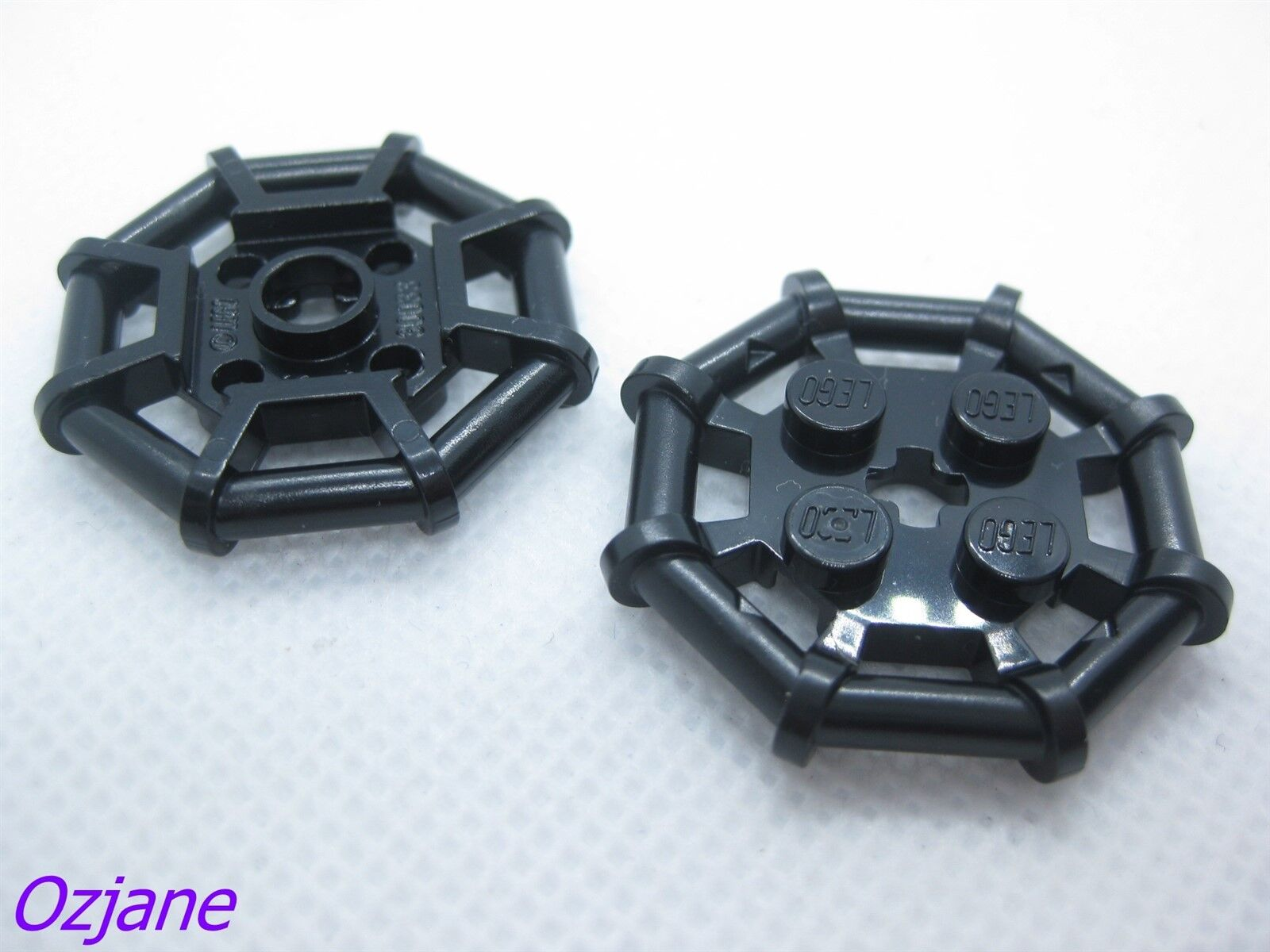 LEGO Parts ~ Modified 2 x 2 w Bar Frame Octagonal 30033 BLACK Plate 2