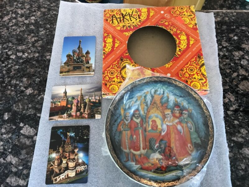"""Decorative Russian Souvenir Plate -signed-""""Story of Tsar Saltane""""Palekh Style"""