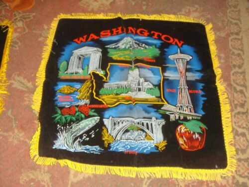 Vintage Washington State Souvenir Pillow Cover - Black Velvet w/Fringe Free Ship