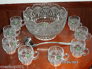 NEW SHANNON LEAD CRYSTAL GODINGER DESIGNS IRELAND PUNCH SET BOWL LADLE 8 CUPS