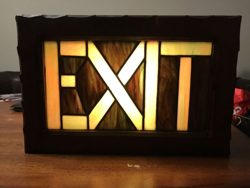 Stained Glass Lighted EXIT Sign