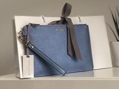 Katie Loxton Secret Message Clutch Bag  - ''Be Happy'' - Metallic Blue Pouch