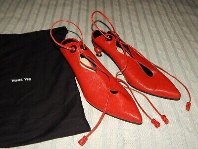 YUUL YIE ― Size 38.5 (US 8) ― Burnt Orange Leather Tassel Ankle Tie Heels Pumps