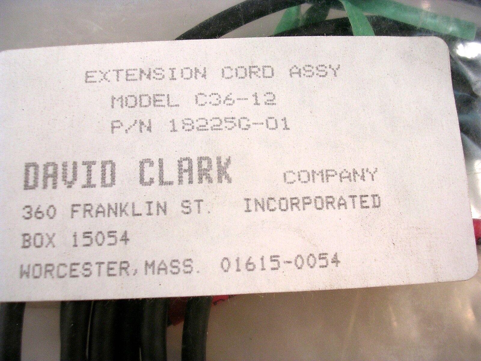 NEW DAVID CLARK EXTENSION CABLE MODEL C36-12