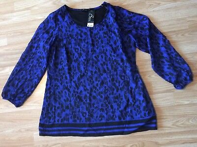 Ladies New Royal Blue And Black 3/4 Sleeve Pop Over Top Size 16 From BM Royal Blue Pop