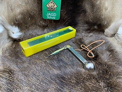1984 Puma  Fishing Knife And Leather Cord - Mint In Factory Green & Yellow Box