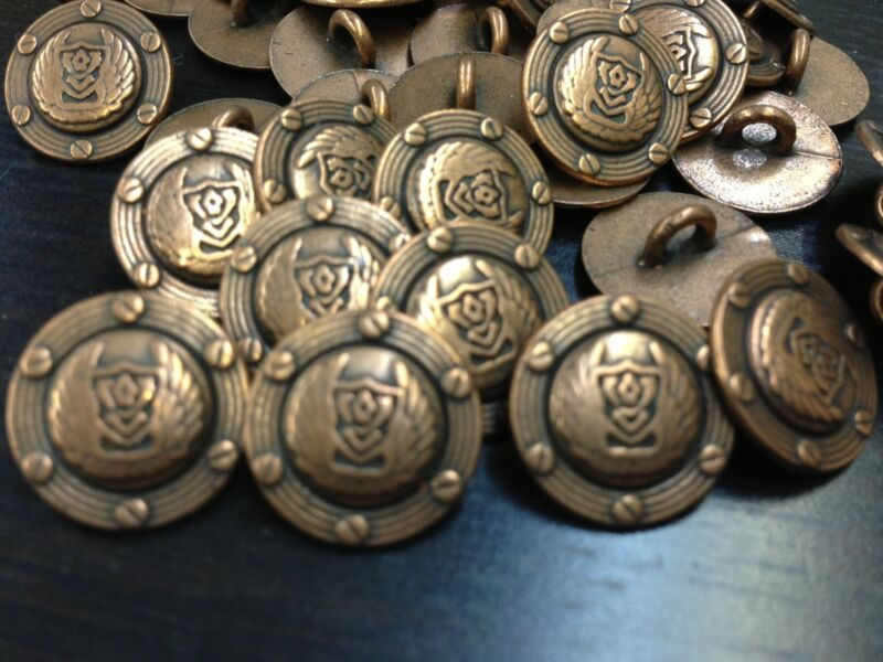 """50 Classic Winged Crest Military METAL BUTTONS Antique Copper 15/mm 5/8"""" Shank"""