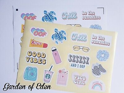 90s Themed Decorations (32 VSCO GIRL THEMED JOURNAL PLANNER STICKERS DECORATIONS 2 A4 SHEETS TEENS 90S)