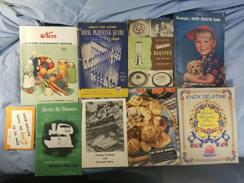 Lot 9 Vintage Cookbooks Recipes 1940s-1950s Wartime Osterizer Knox Kerr
