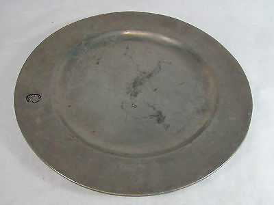 Wilton Armetale RWP Columbia PA Pewter Plough Colonial Platter Plate 13 inch