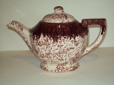 """ANTIQUE"" GONDER ~ GLAZED POTTERY TEAPOT ~ ( RARE ) ~  BROWN AND WHITE"
