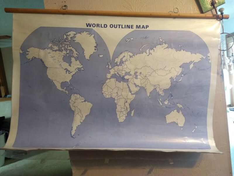 World Project & US Pull Down Classroom Map Wooden 2 Maps & Transparencies School