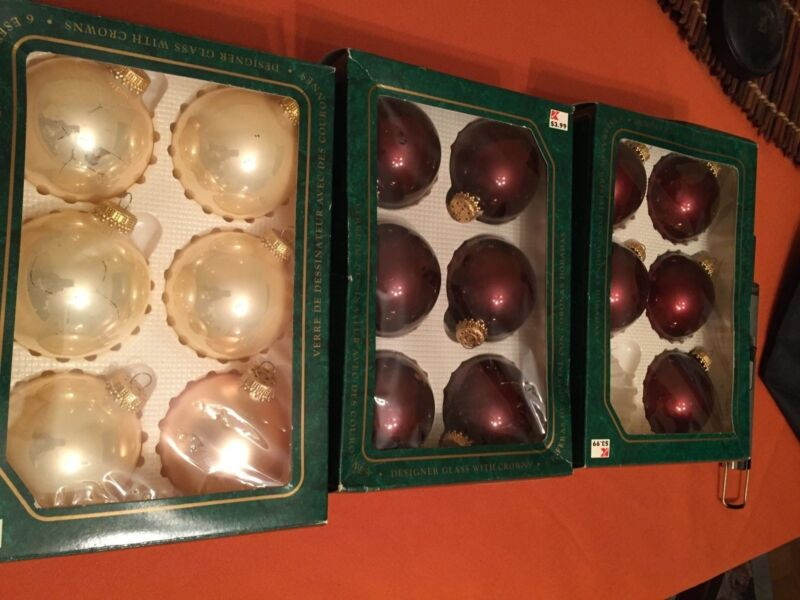 17 Christmas by Krebs Vintage Glass Balls Mixed Colors