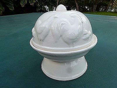 Vintage 4 Egg Ceramic Steamer Cooker White Hen & Rooster Japan Made Tested