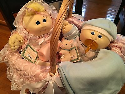 CABBAGE PATCH KID CPK SOFT SCULPT DOLLS 1985  TWIN BASKET Handsigned.  for sale  USA