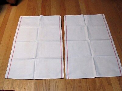 Vintage 50's Pair Cotton Kitchen Hand Towels Red Stripe Sides Unused