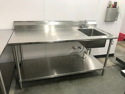John Boos 3072ssk-r 72 Work Table W 1 Right Bowl Restaurant Bakery.