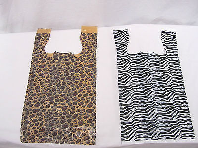 500 Zebra Leopard Print T-shirt Bags Whandles 8 X 5 X 16 Gift Party Retail