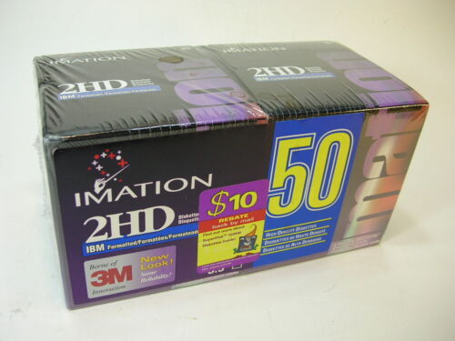 "LOT of 50 (2 X 25) IMATION 2HD IBM Formatted 3 1/4"" FLOPPY DISKS DISKETTES"