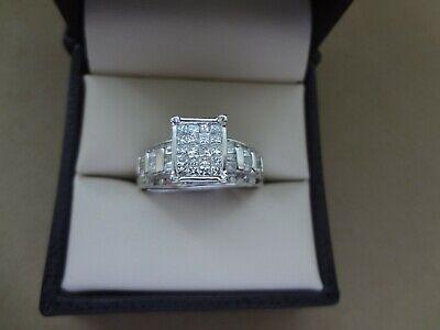 14k Wg Princess Cut Diamond (SPARKLING 14K WG .88 TCW INVISIBLE SET PRINCESS CUT DIAMOND RING W/ SIDE)