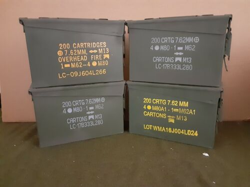 AMMO CAN ( 4 PACK ) ONCE USED MILITARY 7.62 / 30 Cal M19A1  ** FREE SHIPPING**