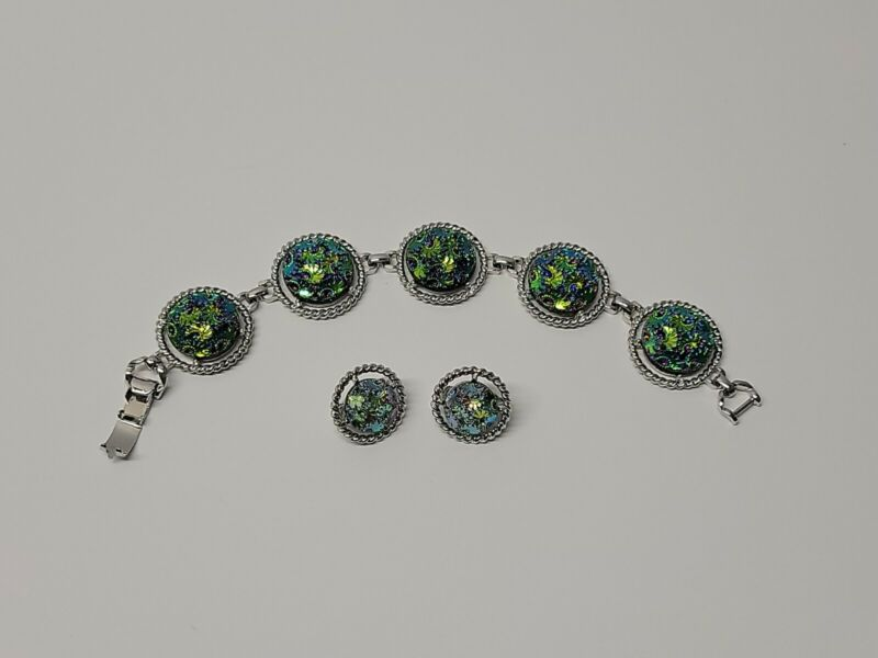 SARAH COVENTRY VTH Bracelet And Clip On Earrings Jewelry Set Turquoise Green