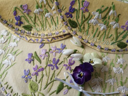Vintage hand embroidered linen table mats~ Fairistytch Snow drops and Violets