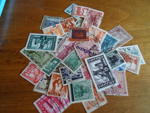 Collection lot 35 different stamps Saar