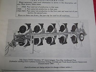 Vintage John Deere F935h F945h Two-way Moldboard Plow Parts Catalog Manual